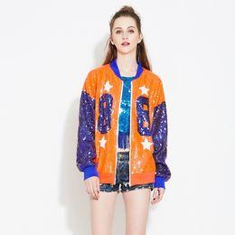 Lantejoulas de grandes dimensões on-line-Streetwear Casual Oversized Loose Hip-Hop Lantejoulas Bomber Jacket Clubwear Mulheres Manga Longa Zíper Frontal Brasão De Lantejoulas