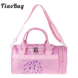 bolsas de ballet para niñas Rebajas TiaoBug Kids Girls Ballet Shoes Impreso Pink Dance Bag Niños Ballerina School Bandolera con correas desmontables mano