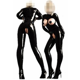 Черный комбинезон из латекса онлайн-New Arrival Sexy PVC Latex Catsuit Women Black Open Bust Bodysuit Cat Women Costume Open Crotch Jumpsuit Erotic Fetish Catsuit