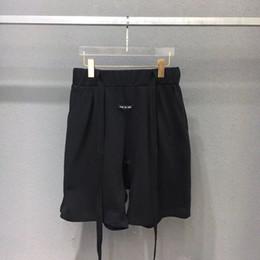 2019 justin cintos 19ss mais recente verão justin bieber preto vintage medo de deus nevoeiro com cinto shorts hip hop suor shorts streetwear moda shorts de algodão justin cintos barato