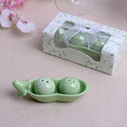 Argentina Dos guisantes en una vaina Sal Pimienta Shakers Ceramic Pea Condimento Cans Wedding Favors Regalos 2pcs / set + DHL Envío Gratis Suministro