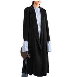 Ceinture en cachemire en Ligne-Automne Hiver ceinturé Noir Manteau De Laine Femmes À Manches Longues Longs Manteaux De Mode mince manteau De Cachemire