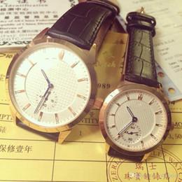 Relógios de pulso elegantes homens on-line-Elegante casal mulheres homens assistir relógios de luxo marca top rodada dois meio-dial agulhas pulseira de couro de quartzo relógios de pulso para homens presente das senhoras