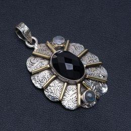 """Pendente di luna labradorita online-Ciondolo in argento sterling 925 naturale con pietra di luna nera e labradorite blu 1,75 """"A4844"""