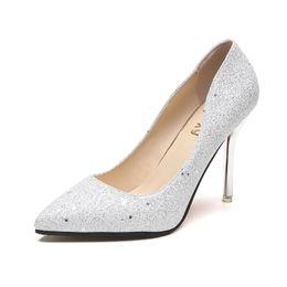 dc003e020c3e Point Toe Thin Glitter High Heels Pumps 10CM 2019 New Sexy Sequins  Glitterjurken Dames Women Shoes Elegant Party Wedding Heels