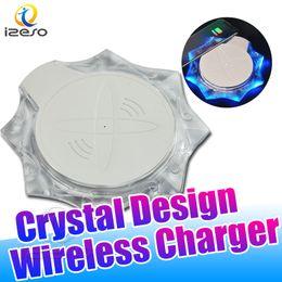 Carregador iphone 5w on-line-Cristal sem fio Carregador para iPhone 11 XS MAX XR carregamento sem fio Base de acessórios do telefone móvel para Samsung Nota 10 S10 5W Carregador sem fio