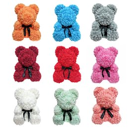 flower girl bear Promo Codes - New Artificial Rose Flower Bear PE Rose Cartoon Super Girlfriend Kid Gift Love Bear Dolls Present Wedding Party Decoration Valentine's Day