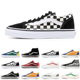 d9a15bb796 Original Vans old skool sk8 fear of god hi men women canvas sneakers black  white YACHT CLUB red blue fashion skate casual shoes