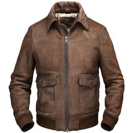2020 Light Brown Männer Smart Casual Lederjacke Einreiher Plus Size XXXXL echter Rinds Herbst Slim Fit Ledermantel