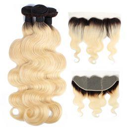 1B 613 Ombre Пучки светлых волос с фронтальной перуанской девственницей Объемная волна волос 3 пучка с 4x13 кружевными лобными реми человеческих волос Remy от