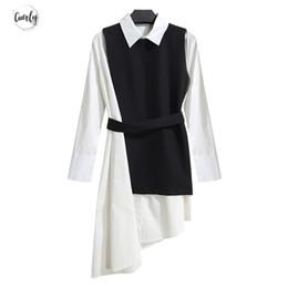 colete longo coreano da luva Desconto Vestido camisa das mulheres Terno Two Piece Set Long Sleeve Lace Up Black White assimétricas Vest vestido roupas femininas coreano