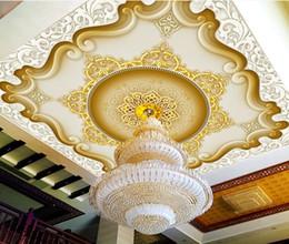 Elegantes wohnzimmer tapete online-Benutzerdefinierte 3D Deckentapete Tapete im Europäischen Stil der europäischen und amerikanischen klassischen Retro-elegante Drei-Ebenen-Wohnzimmer Schlafzimmer