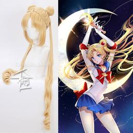 cabeça Sailor Moon Tsukino Usagi longa peruca Bun Loiro ouro Cosplay + Cap peruca de 130 centímetros Blonde Curly Duplo Rabo de