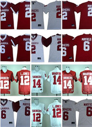Argentina NCAA College Oklahoma Sooners 2 Hurts Jersey 6 Baker Mayfield 14 Sam Bradford 12 Landy Jones hombres Rojo Blanco Footbal caliente Suministro