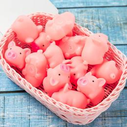 Mini maiali di plastica online-Bagnetto maiale rosa giocattolo Mini giocattolo di gomma del maiale con il suono di BiBi piscina di acqua Giocattoli di divertimento per i bambini all'ingrosso