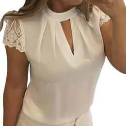 2019 chiffon spitze büro tops Frauen schnüren sich feste Bluse-Büro-Damen-Chiffon- beiläufiges Hemd-Frauen-Kurzschluss-Hülsen-Spleiß-Oberseite höhlen heraus Sommer-Hemd aus modis roupa rabatt chiffon spitze büro tops