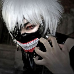 2020 masque de kaneki Dégagement de haute qualité Tokyo Ghoul 2 Kaneki Ken Masque Réglable Fermeture Éclair Masques PU Cuir Cool Masque Blinder Anime Cosplay Halloween Masques masque de kaneki pas cher