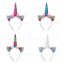 Bastoni di fiori artificiali online-Baby Fasce Paillettes Unicorn Hair Sticks Rabbit Ears Festival Halloween Party Decorare Fiore artificiale 3 7 giorni F1