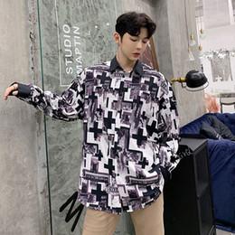 099646e9bcc Korean Men Print Shirt Patchwork Collar Cuff Long Sleeve Loose Trend Shirts  Personality Design New Fashion Baggy Mens Shirts