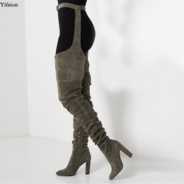 армейские сапоги с высокими бедрами Скидка Yifsion Новые Женщины Бедра Высокие Сапоги Sexy Square Высокие Каблуки Сапоги Острым Носом Army Green Club Одежда Обувь Женщины Плюс Размер США 5-15
