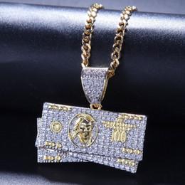 2019 gold-dollar-schein Hip Hop Schmuck US Dollar Bill Anhänger Halskette Gold Silber Farbe Bling Kubikzircon Herren Halskette Für Geschenk günstig gold-dollar-schein