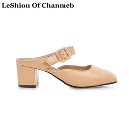Hebilla cuadrada Bloquear zapatos de tacones Mujeres Negro Desnudo Blanco Tamaño más grande 43 44 45 46 47 48 Bombas Mujer Zapatos de verano Mulas Zapatillas Nuevo desde fabricantes