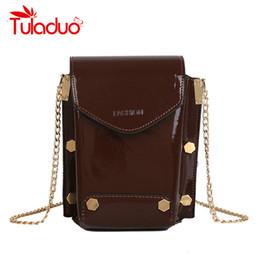 High Quality Patent Leather Women Mini Phone Purse Bags Chain 2019 Small  Shoulder Crossbody Bags Luxury Rivet Design Sac A Main 2acc45b9c387c