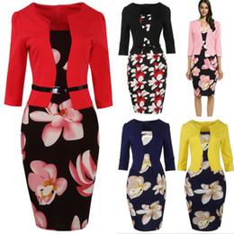 vestidos de lápis de escritório Desconto Venda quente Vestidos 2019 Mulheres Outono Floral lápis vestido Bodycon Escritório senhoras vestidos Bandage trabalho Elegante 4XL Plus Size FS0671