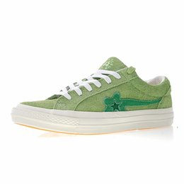 8810ea98883 2019 New TTC The Creator x One Star Golf Ox Le Fleur Wang Suede Green  Yellow Beige Sunflower Casual Running Skate Shoes Sneakers