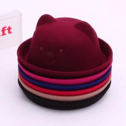 Cappello di lana del bambino online-USA Toddler Cute Baby Ragazzi Orso Orecchio Ragazze Berretto con visiera Cappello Berretto di lana Fashion Design Cappello più recente