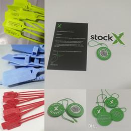 Vermelho autêntico on-line-Zip Tie Red Tag OW Plástico Off Sapatos StockX Stock X Crad Autenticado Verificado com QR Code 2017 2018 Verde Amarelo Branco Azul
