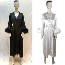 75172cbb0c Chinese Women Sexy Fur Robe Sheer Long Lingerie Robe Nightgown Bathrobe  Pajamas Sleepwear Nightdress Chiffon Bridal