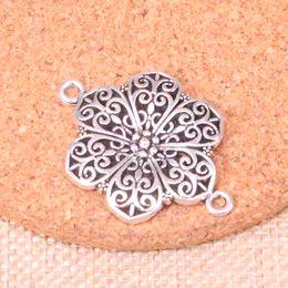 fiore per gioielli Sconti 46pcs Charms connettore fiore pendenti placcati argento antico misura gioielli facendo risultati accessori 40 * 28mm