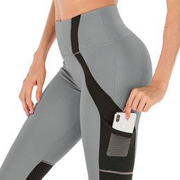 2019 mesh workout hose Hohe Taille Fitness Leggings Frauen Push Up Workout Legging Mit Taschen Mesh Patchwork Leggins Hosen Frauen Fitness Kleidung