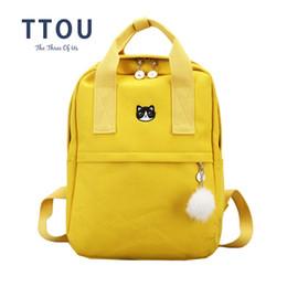 sacos da lona da lona do estilo de japão Desconto TTOU Japão e Coréia Estilo Harajuku Bonito Bordado Gato Coroa Mochila de Lona Adorável Estilo Preppy Satchel School Bag Para Meninas # 140003