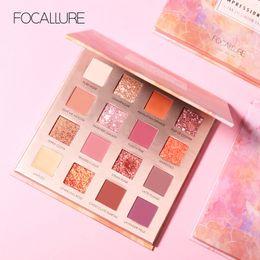 Пигментные тени онлайн-FOCALLURE New Sunrise Eye Shadow Palette Glitter Matte Pigment Eyeshadow Loose Powder Luxury Quality