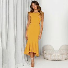 95de743979e ... Dos Nu Gaine Moulante Jaune Femmes Robe O Cou Sans Manches À Volants  Vestidos Cocktail Fête D été Maxi Robe Rouge robe jaune sans maxi sexy pas  cher
