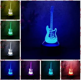 Cadeaux guitare électrique en Ligne-2019 Nouvelle 3D Guitare Électrique Led Visual 7 Changement de Couleur Veilleuses pour Enfants Bébé Dormir Décor À La Maison De Noël Nouvel An Anniversaire Cadeaux
