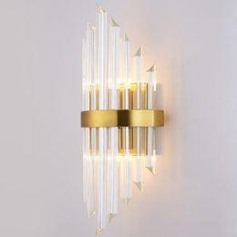 2019 murs de cristal Luxe or Applique moderne Crystal Applique d'appareils d'éclairage LED Salon de chevet en acier inoxydable Wall Light promotion murs de cristal