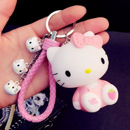 hello rings Coupons - Cartoon Cute Anime Hello Kitty Keychains KT Cat Bells Key Rings Women Girl Car Purse Pendant Key Chains Porte Clef Gift Trinkets