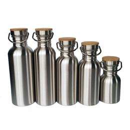 Deutschland Edelstahl Wasserflasche Outdoor Reise Angeln Wandern Bambus Abdeckung Großen Mund Wasserkocher 5 Größe Vakuum Mode Wasserflasche Angepasst Versorgung