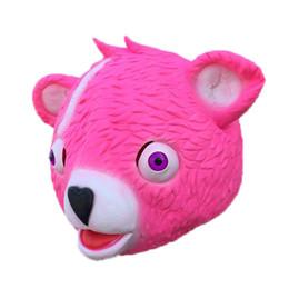 Argentina Hot Mask Cuddle Team Leader Pink Teddy Bear Fuzzy Panda Bear Cosplay Máscaras de látex realistas para niños Adultos Fiesta de Halloween Juguetes Envío gratis Suministro