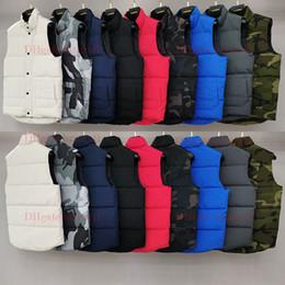 Мужские безрукавки онлайн-Мужская зимняя куртка Mens Vest Goose Vest Down Vest Пуховик толстый без рукавов Тонкий камуфляжный воротник Goose мужская North Puffer Doudoune Homme