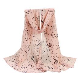 темно-синий розовый шарф Скидка KLV 1PC Women Musical Note Printed Thin Silk Neck Wraps Scarves Autumn Hot Sale Fashion Scarve High Quality Navy Pink 20190308