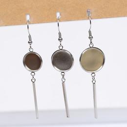 2019 lünette für ohrring Cabochon Ohrring Basis Einstellungen leer fit 12mm 14mm 16mm Cabochon Ohrringe Lünette Tabletts DIY Edelstahl Ohrhaken Erkenntnisse Schmuck günstig lünette für ohrring