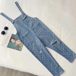 Ragazze di jeans online-Moda donna vintage designer di lusso foro dritto jeans pantaloni ragazze jacquard pantaloni lunghi pista femminile pantaloni da cowboy di fascia alta di marca di fascia alta