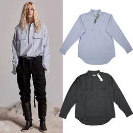 новый мужской дизайн Скидка Страх перед Богом Хенли рубашка синий полосатый негабаритных хлопчатобумажная рубашка с карманами хип-хоп черный пуловер с длинным рукавом рубашки туман 6-й NCI0706