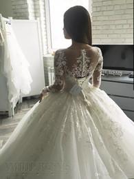 immagini del vestito da cerimonia nuziale coreano Sconti Abiti da sposa a maniche lunghe in pizzo elegante Corte dei treni Dubai Dubai Musulmano Una linea abiti da sposa abiti da sposa