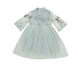 Canada Les filles de printemps robe maille princesse robe mode broderie ethnique style chinois enfants robe de bébé cheap ethnic fashion dresses Offre