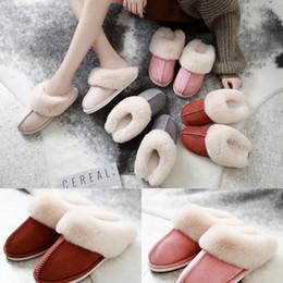 zapatillas de casa de felpa Rebajas Gamuza deslizador 6 colores interior de felpa cómodo caseros suaves zapatos calientes de baño de felpa Casa Zapatos LJJO7204